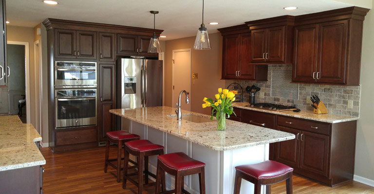 Kitchen Island Or Peninsula leawood kitchen remodel transforms kitchen, trades peninsula for